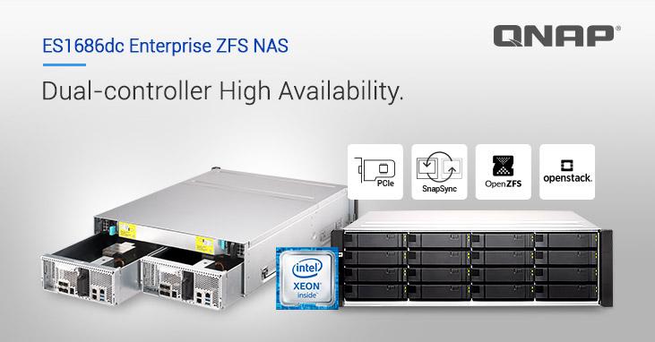 QNAP phát hành NAS Dual-Controller ES1686dc Enterprise ZFS – Lưu trữ tối ưu và sẵn sàng cao