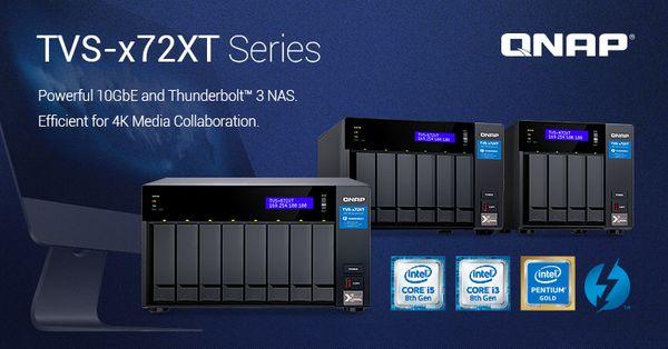 QNAP giới thiệu dòng sản phẩm TVS-x72XT mới: NAS tích hợp 10GbE và Thunderbolt 3