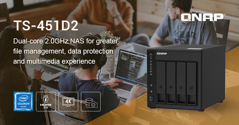 QNAP ra mắt NAS TS-451D2: Vi xử lý Intel J4025 Dual-core với nhiều tiện ích nổi bật